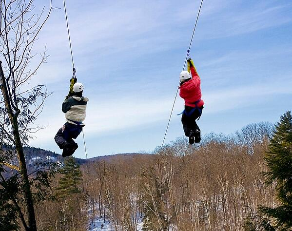 ziplining in the winter